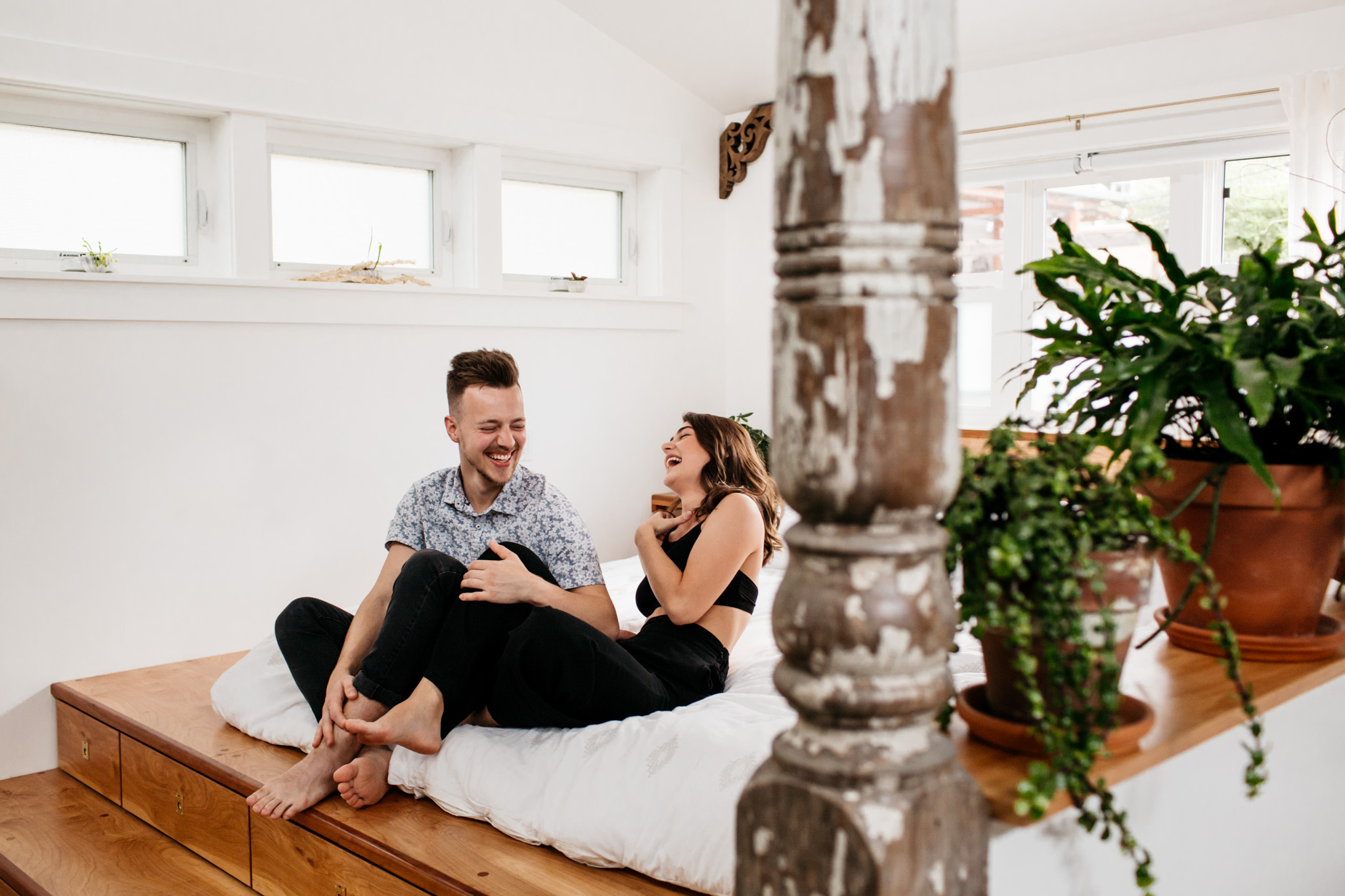In home engagement session in Portland Oregon with Brittney Hyatt Photography