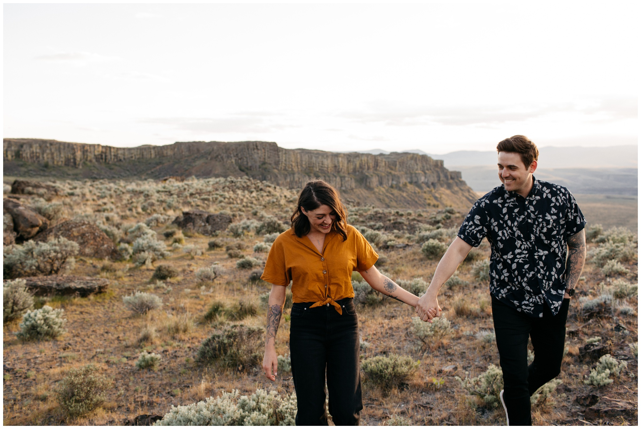 Intimate natural engagement session at Vantage Washington along the Columbia River with Brittney Hyatt Photography