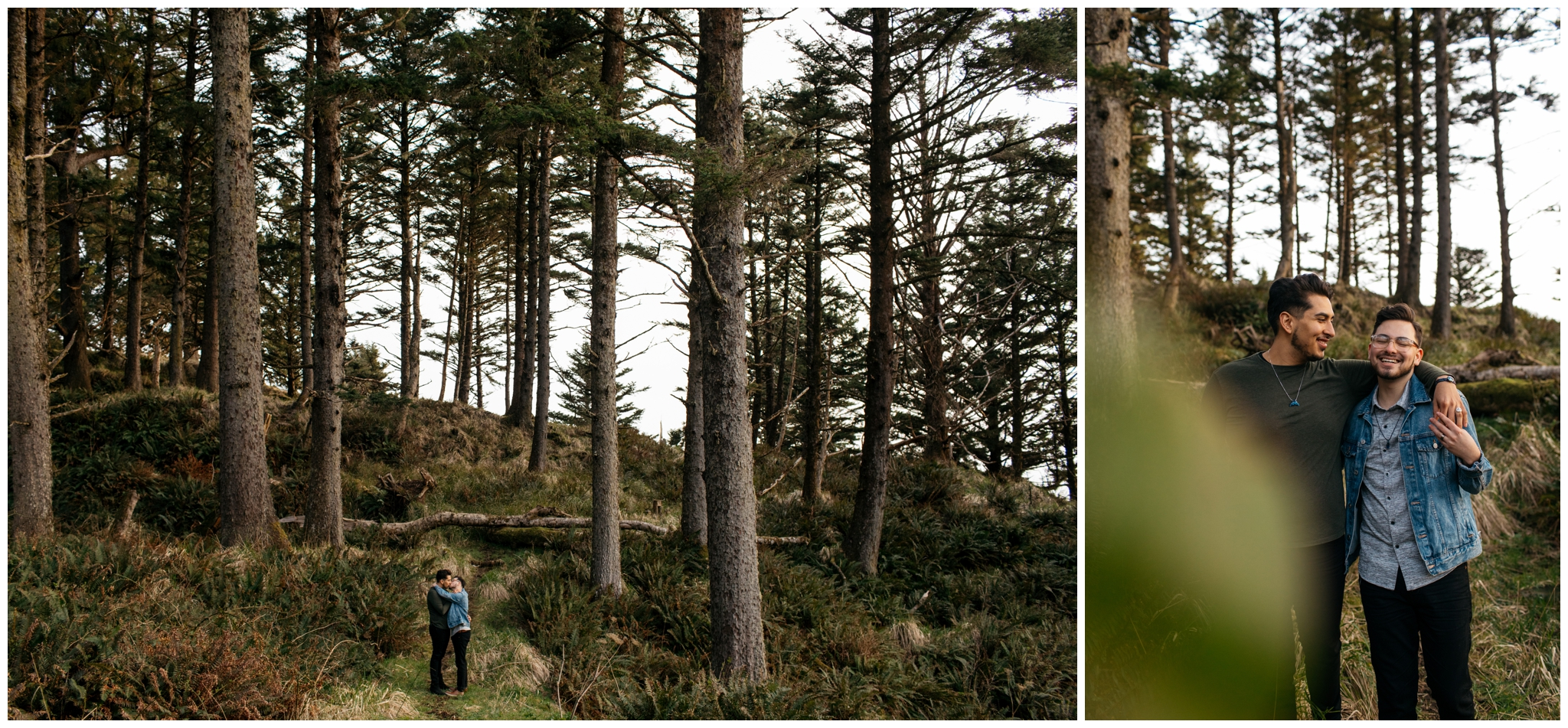 Cannon Beach Engagement With Brittney Hyatt Photography Seattle Wedding and Elopement Photographer. Same-sex couple hangs out in the woods at Ecola State Park after proposing to each other on a cliff edge looking over Cannon Beach.